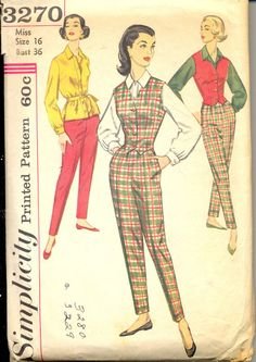 Vintage 1960's Womens Pants, Vest and Blouse Pattern, Simplicity 3270 Sewing Pattern, Size 16