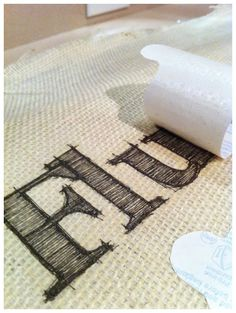Ink transfer onto burlap