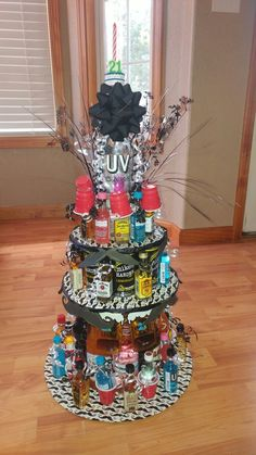 "My sons birthday ""cake"". Alcohol tower cake – Birthday Presents Alcohol Birthday Cake, Alcohol Cake, 21st Birthday Cakes, Alcohol Gifts, Diy Birthday, Alcohol Bouquet, Liquor Bouquet, Birthday Ideas, Drinks Alcohol"