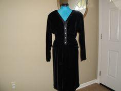 40's Black Velvet Neiman-Marcus Cocktail Dress Neiman Marcus Cocktail Dresses, Black Velvet, High Neck Dress, Dresses With Sleeves, Trending Outfits, Long Sleeve, Unique, Clothes, Vintage