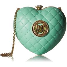 Love Moschino JC4321PP01KA0802 Evening Bag ($81) ❤ liked on Polyvore featuring bags, handbags, clutches, chain strap purse, green clutches, heart handbag, chain strap handbag and chain handle handbags