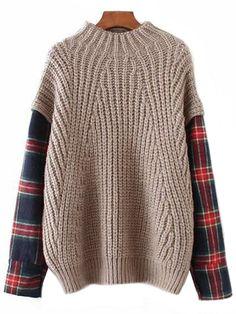 99256b28c96  Nicho  Plaid Sleeve Mock Sweater ( 2 Colors Available )