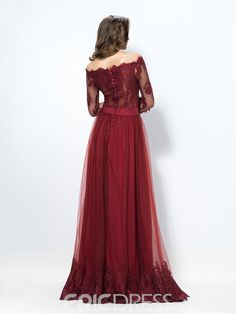 Ericdress Off-The-Shoulder A-Line Lace Button Evening Dress