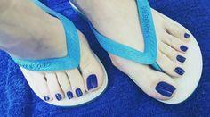 No photo description available. Pretty Toe Nails, Pretty Toes, Feet Soles, Women's Feet, Cute Pedicures, Long Toenails, Blue Toes, Teen Feet, Foot Photo