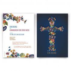 15 Einladungskarten Konfirmation Karte A6 mit Umschlag Motiv Kranz Blume Kreuz