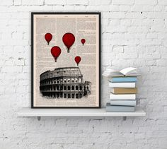 Vintage+Book+Print++Rome+Colosseum+Balloon+Ride+Print+on+by+PRRINT