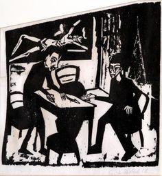 Gegner (Opponents) by Erich Heckel at Simon Theobald Ltd - Printed Editions - Ref 62151 Linocut Prints, Art Prints, Karl Schmidt Rottluff, Modern Art, Contemporary Art, Ernst Ludwig Kirchner, Expressionist Artists, Cubism, Dresden