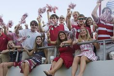 The ledge of the student section deck is for the #Alabama ladies only.  Only at #BryantDenny.  #RollTide