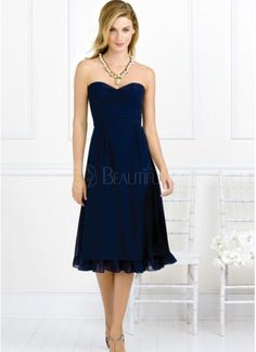Casual Dark Navy Chiffon Sweetheart Ribbon Cocktail Dress. May be cute for bridesmaid dresses in another color