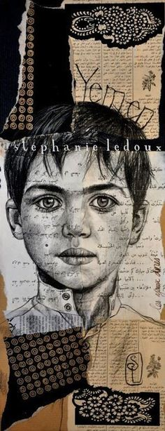 Travel sketch portrait - wonderful combintation of sketch and collage to give context: by Stephanie Ledoux