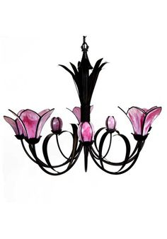 Lámpara de techo de cinco brazos, estilo clásico. Fabricada en forja color marrón envejecido con tulipas de tiffany soldado con plomo, color rosa. Diez casquillos G 9 apto para LED (bombillas no incluidas).  Medidas:  81 cm de alto + 70 cm de cadena x 60 cm de ancho.  Perfecto para salón, comedor, sala de estar...   Envío gratis en 24h. Color Rosa, Led, Jewelry, Tulips, Ceiling Light Fixtures, Classic Style, Maroon Color, Pendant Chandelier, Chain