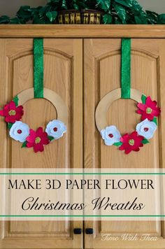 Make 3D Paper Flower Christmas Wreaths ~ Christmas paper craft with step-by-step instructions and photos that is easy and fun for children and adults to make! / timewiththea.com