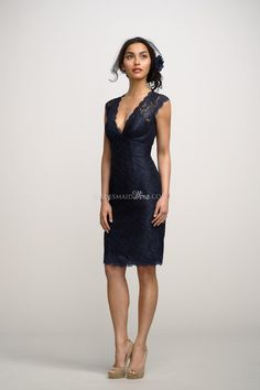 navy v-neck lace cap sleeves knee length bridesmaid dress