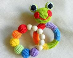 Baby rattle SET of 2 Crochet Baby toy Grasping por MioLBoutique