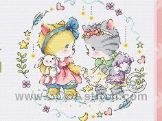 Bear Cartoon, Soda, Cross Stitch, Kitty, Embroidery, Comics, Cats, Punto De Cruz, Punto Croce