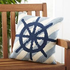Add a pop of seaside style to your reading nook or den with this lovely pillow, featuring a bold starfish design. #boataccessoriesdecor