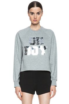 Markus Lupfer|Oh Boy Mirror Cotton Crop Sweatshirt in Slate [1]