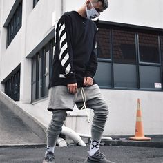 Rate the Outfit from 0-100 ! @jvetaylvr #OutfitSociety. Off White Longsleeve, Socks and Mask FOG Sweatpants and Shorts Adidas Yeezy Boost 350