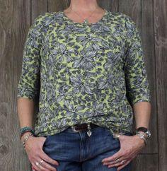 J Jill Wearever M L size Green Black Blouse Womens Career Casual Top