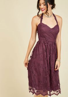 Reach the height of regal style in this 3D lace dress, surrounded by your best friends. Beauty is redefined by the removable halter straps, gathered waist, and floral appliques of this burgundy midi - an opulent staple from our ModCloth namesake label that will capture everyone's attention.By the way, this lovely item will be available for purchase in October!