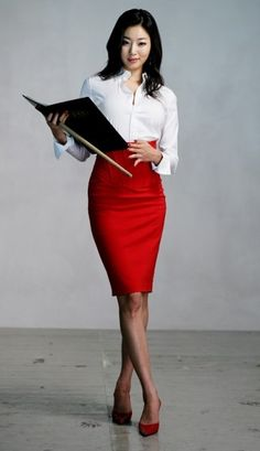 Red pin skirt for work: