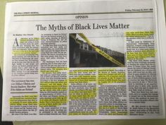 """An anti-Black Lives Matter opinion article that labels an epidemic of police violence against blacks a """"myth"""" has been posted inside a San Francisco police station for almost a week, possibly in violation of department and city rules that bar political activity in public buildings.But the depar"""