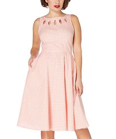 Another great find on #zulily! Voodoo Vixen Peach & White Gingham Fit & Flare Dress by Voodoo Vixen #zulilyfinds