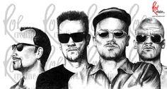 U2 illustrations, pencil, pen and computer drawings
