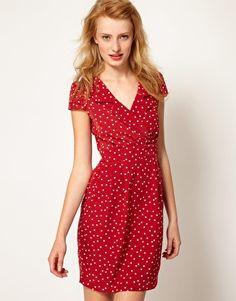 A Wear Polka Dot Wrap Dress