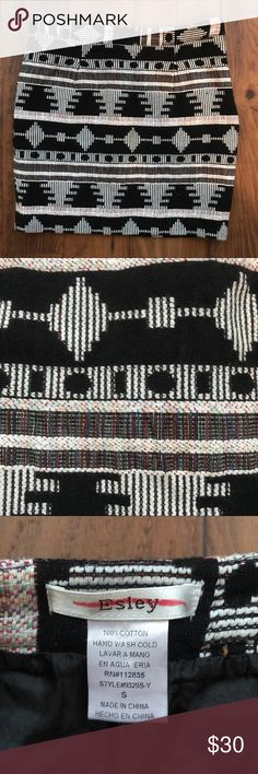 "Esley Aztec Tribal Print Embroidered Mini Skirt Beautiful Aztec Tribal Print Embroidered Mini Skirt. 100% Cotton. Size small. Laying the skirt flat the waist measures about 13"". The length of the skirt is about 14.5"". (81) Esley Skirts Mini"