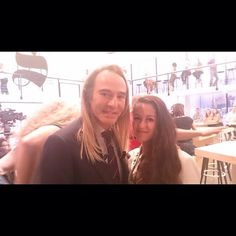 """John Galliano and a young designer at the backstage shooting for """"Le Supplément """" Sept 12, 2014, Paris"""