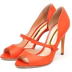 Rupert Sanderson Zelena High Heel Mary Jane Peep Toes in Lava Waxed Calf with a 100mm heel.