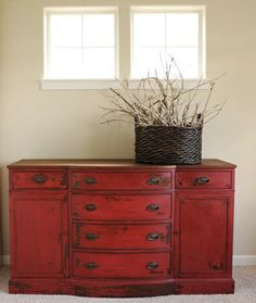 Dramatic red buffet in MMS Tricycle (Melanie @ AllThingsNewDesign)