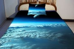 Cloud quilt cover sky blue bedding set two sides printing sailor moon bed spread moon bedding sky blue bed sheets with clould pillow covers