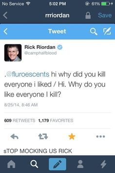If I met rick Riordan, idk if I would hug him for the amazing books he writes, or punch him in the face because he killed Leo🤔🤔🤔 Percy Jackson Serie, Percy Jackson Memes, Percy Jackson Books, Percy Jackson Fandom, Magnus Chase, Rick Riordan Series, Rick Riordan Books, Solangelo, Percabeth
