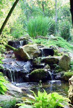 Pictures of Water Features & Water gardens/Photo Gallery of Fish Ponds, Backyard Waterfalls, Pondless Waterfalls pics, Koi Ponds, by Creative Land Design. Waterfall Landscaping, Landscaping With Rocks, Pool Landscaping, Waterfall Photo, Garden Waterfall, Backyard Water Feature, Ponds Backyard, Outdoor Waterfalls, Natural Pond