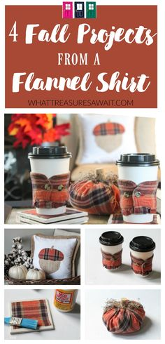 Create Easy Fall Projects from a Flannel Shirt ~ Another Girl's Treasure - What Treasures Await http://whattreasuresawait.com/create-easy-fall-projects-from-a-flannel-shirt-another-girls-treasure/