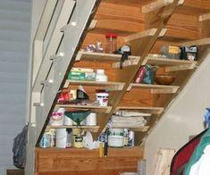 Best utility closet shelves under stairs ideas Shelves Under Stairs, Closet Under Stairs, Stair Shelves, Basement Shelving, Staircase Storage, Under Stairs Cupboard, Basement House, Basement Stairs, Closet Shelves