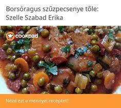 Borsóragus szűzpecsenye Ketchup, Beans, Vegetables, Food, Red Peppers, Essen, Vegetable Recipes, Meals, Yemek