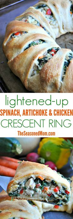 For an easy party appetizer or weeknight dinner, try this Lightened-Up Spinach Artichoke & Chicken Crescent Ring! It's cool-weather comfort food made healthier and faster! chicken recipes for dinner