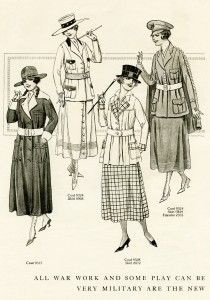 """free printable digital image design resource ~ vintage women's wartime fashion, from Aug 1917 issue of """"The Delineator"""" magazine"""