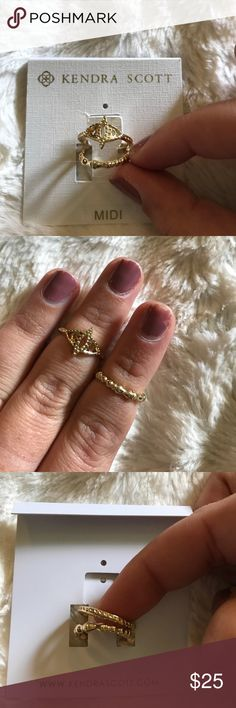 NWT Kendra Scott gold set of 2 midi rings NWT Kendra Scott gold set of 2 midi rings. I would say these are about a size four. Beautiful detailing and very comfortable to wear. Kendra Scott Jewelry Rings