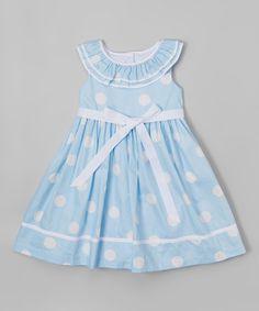 Love this Blue & White Polka Dot Yoke Dress - Infant, Toddler & Girls by Laura Ashley London on #zulily! #zulilyfinds