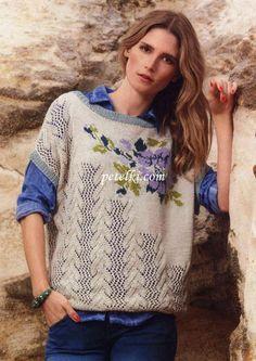 Женский пуловер вязаный спицами