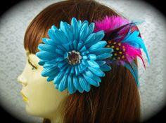 CUSTOM MADE Daisy Gem Flower & Feather Hair by LoveJoyAdornments, $12.00