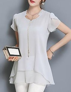 Best 12 Women's Casual/Daily Simple All Seasons Blouse,Solid Round Neck Short Sleeve Polyester Medium Designer Kurtis, Designer Dresses, Kurta Designs, Blouse Designs, Blouse Dress, Elegant Outfit, Blouse Styles, Mode Style, Short Sleeve Blouse