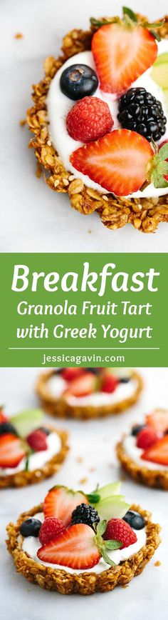 Breakfast Granola Fruit Tart with Yogurt Recipe - Customize your favorite fillings and toppings in the crunchy granola crust!   jessicagavin.com