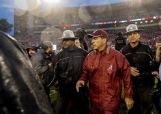 Nick Saban made it a point to go over and thank Alabama fans for sitting through the rain.