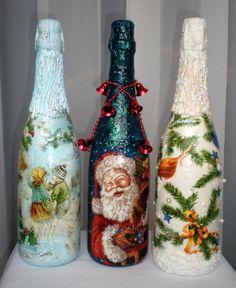 Декупаж: новогоднее шампанское (декупаж ,декор бутылки, шампанское ,новый год) ФОТО #1