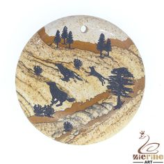 Western Pendant Carved Hand Painted Wolf Natural Picture Jasper ZL00444 #ZL #Pendant